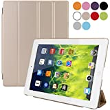 BESDATA Ultra Thin Magnetic Smart Cover [Auto Wake/Sleep Function] & Translucent Back Case for Apple iPad 2 / iPad 3 (The New iPad) / iPad 4 (iPad with Retina Display) + Screen Protector + Cleaning Cloth + Stylus, Gold - PT2609
