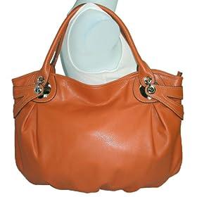 Orange Tosca Leather Lk Slouchy Hobo Satchel Handbag