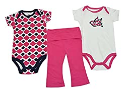 Yoga Sprout Baby-Girls 3 Piece 2 Bodysuits and Pant Set Bird, Girl Bird, 9-12 Months