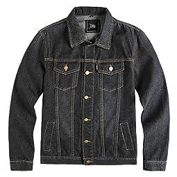 ZSHOW Men\'s Casual Denim Jacket Slim Jeans Jacket(Black,US S)