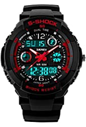 Fanmis Multifunction Dual Time Led Light Analog Digital Waterproof Alarm S - Shock Sport Wristwatch (Red)