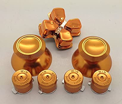 Metal Gold thumbsticks Grip+ Buttons and Gold Chrome D-pad