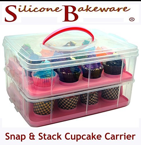 Porte- Cupcake réglable Snap et Stack 2 Couche Et Gâteau Porte-container Dit 24- rose par silicone Bakeware