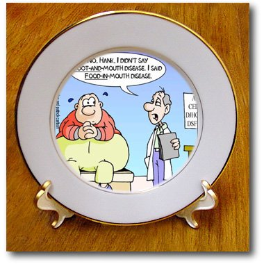 Cp_2503_1 Londons Times Health And Vanity Trends Cartoons - Food In Mouth Disease For Dieters - Plates - 8 Inch Porcelain Plate