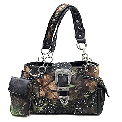 Western Bling Camo Purse - Rhinestone Buckle & Concealed Carry Gun Pocket