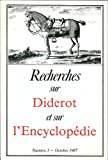 img - for Recherches sur Diderot et sur l'Encyclopedie: Numero 3 - Octobre 1987 (French Edition) book / textbook / text book