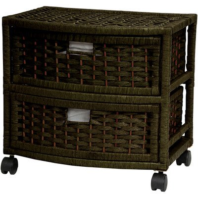 Oriental Furniture Good Excellent Quality Affordable Nightstand End Tables, 16-Inch 2 Drawer Natural Fiber Rattan Style Storage Chest with Casters-Black