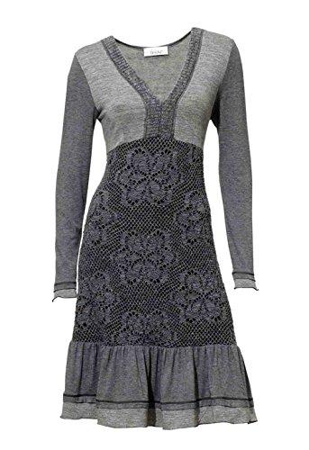 Linea Tesini Damen-Kleid Patchkleid Grau Größe 40