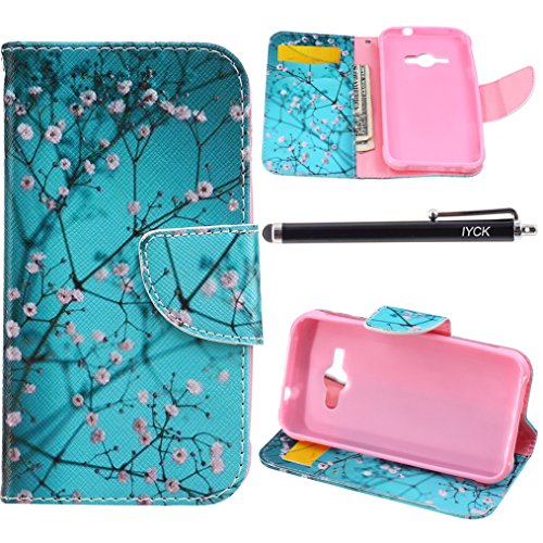 Galaxy J1 Ace Case Wallet, iYCK Premium PU Leather Flip Folio Carrying Magnetic Closure Protective Shell Wallet Case Cover for Samsung Galaxy J1 Ace / J110M with Kickstand Stand - Plum Blossom (Samsung Ace Phone Wallet Cases compare prices)