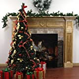 7.5' Pre-Lit Pop Up Decorated Red/Gold Artificial Christmas Tree - Clear Lights