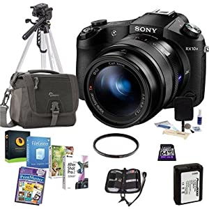 Sony Cyber-Shot DSC-RX10 II Digital Camera, Black - Bundle With Camera Bag, 64GB Class 10 SDHC Card, Spare Battery, Tripod, 62mm UV Filter, Cleaning Kit, Software Package, Memory Wallet
