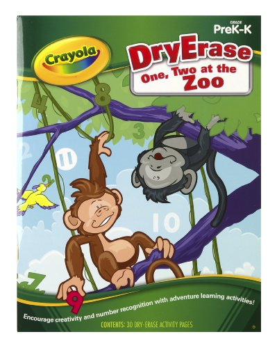 Crayola Dry Erase Learning Activity Workbook One, Two At The Zoo