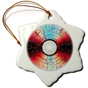 orn_21341_1 Taiche Photography - Abstract DVD Burning A Disc - Ornaments - 3 inch Snowflake Porcelain Ornament