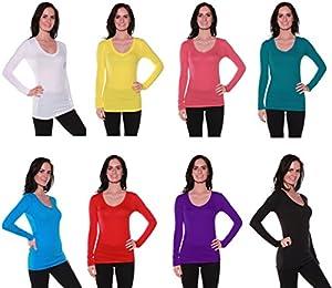 Active Basic Women's Plain Basic Cotton Blend Deep V Neck T Shirt with Long Sleeves