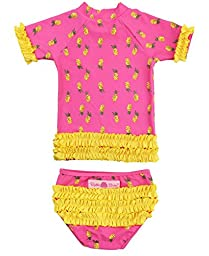 RuffleButts® Infant / Toddler Girls Pineapple Party Ruffled Rash Guard Bikini - Pink - 6-12m