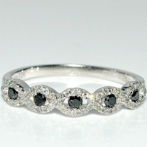 Black And White Diamond Band Ring Woven Pattern Cris Cross Wedding 0.35Ct