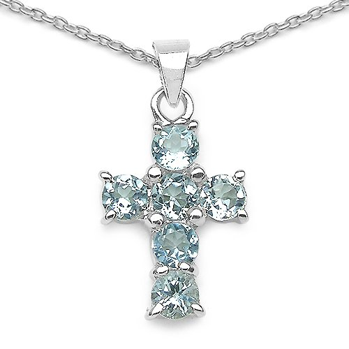 2.10 Carat Genuine Blue Topaz Cross Shape 925 Sterling Silver Pendant