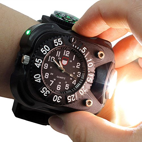 Tactical CREE XPE LED Flashlight Wrist Watch touch Lamp light Dial Display Rechargeable 5w Wristlight Outdoor Sports (Black) (Tactical Dial compare prices)