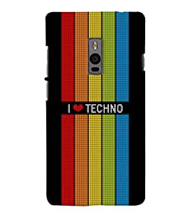 Chiraiyaa Designer Printed Premium Back Cover Case for OnePlus Two 1+2 (I boy girl friend valentine miss kiss techno colorful stripes rainbow) (Multicolor)