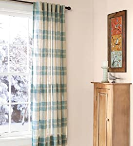 96 L Textured Linen Like Plaid Sheer Curtain Panels In Blue Window Treatment Sheers