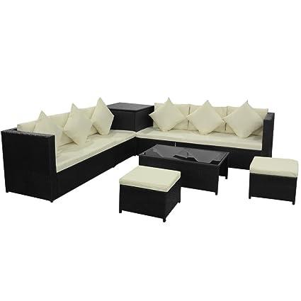 vidaXL 26tlg. Poly Rattan Gartenmöbel Set Gartengarnitur Sitzgruppe Sofa Lounge Schwarz