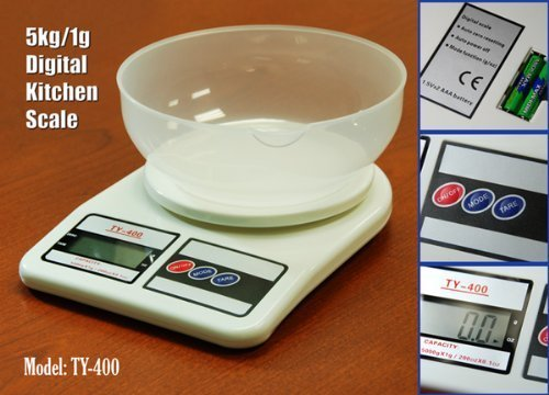 5000g Digital Kitchen Food Bowl Scale 5kg Diet 10# by DigiWeigh