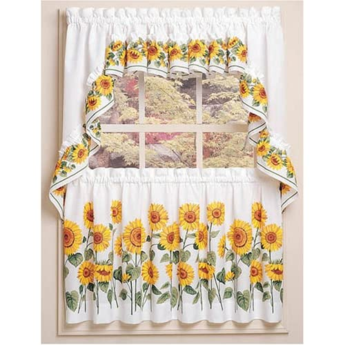 Sunflower Window Curtains Country Kitchen Swag 24 Tiers Set Window Treatment