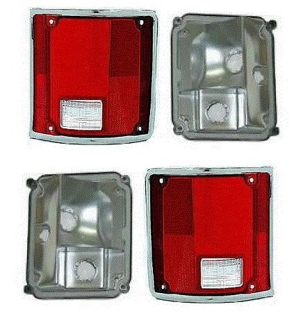 73 - 87 Chevrolet GMC Truck Taillight Pair Set Taillamp CHROME Trim Lens and Housing 73-91 Blazer Jimmy Suburban Driver and Passenger (73 Chevy Truck Taillights compare prices)