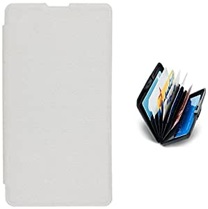 Tidel White Premium Flip Cover For Nokia Lumia 720 With Credit Card Holder
