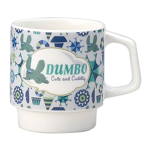 Japan Walt Disney Official Dumbo - Vintage Classic White Blue Ceramic Coffee Mug with Handle & Stand Water Cup Tea Milk Beverage Kids Tumbler Microwave Dishware Dinnerware Gift Pottery Porcelain