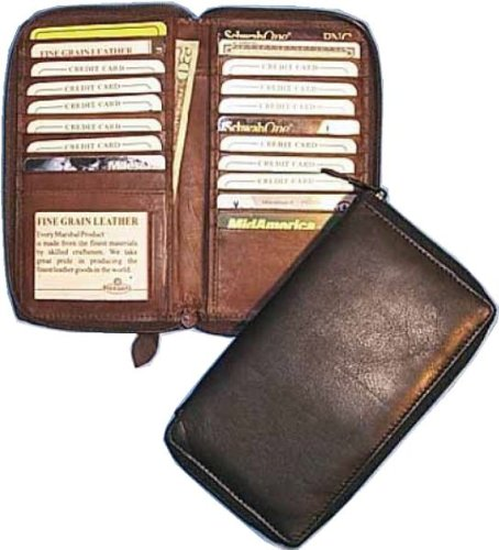 Zippered Long Credit Card Wallet (Brown)