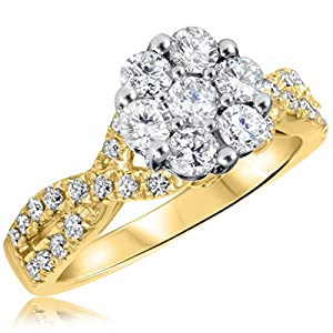 1 1/7 CT. T.W. Diamond Ladies Engagement Ring 10K Yellow Gold- Size 6.5