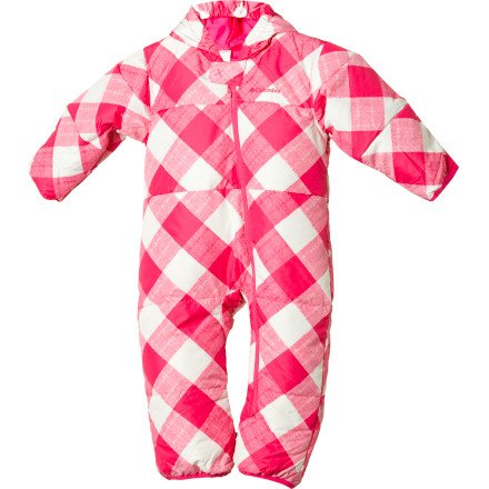 Columbia Unisex-Baby Infant Snuggly Bunny Down Bunting Bodysuit, Very Pink Small Gingham Print, 12 Months