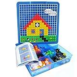 プラスチック ペグボード ジグソー パズル キューブ くぎ  ボックス ペグ 約490個 自由に創造 幼児 知育玩具 ブルー〔並行輸入品〕