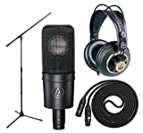 Audio Technica AT4040 with AKG K240 Studio - Professional Studio headphones, On Stage Boom Mic Stand, LyxPro 25' Black Quad Cable XLR M/F