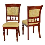 Cortesi Home Winthrop Queen Anne Dining Chair in Yellow and Gold (Set of 2)