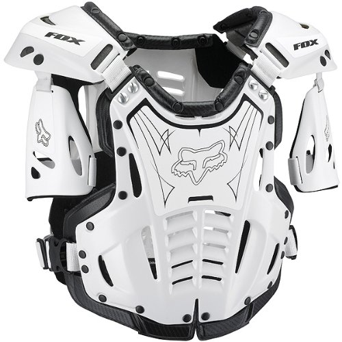 Fox Racing Airframe Men's Roost Deflector Off-Road Motorcycle Body Armor - White/Black / Large