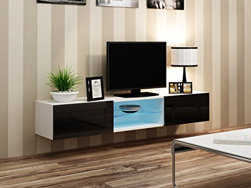 Seattle With Glass Shelf Tv Stand High Gloss White Tv Stand