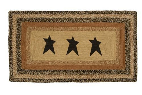 Kettle Grove Stencil Star Braided Jute Rug, Rectangular - 27x48