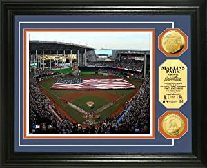 MLB Texas Rangers Marlins Park 2012 Opening Ceremony Gold Coin Photo Mint by Highland Mint