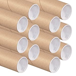 The Art Wall Kraft Mailing Tubes with Caps, 2-Inch by 18-Inch, 12-Pack