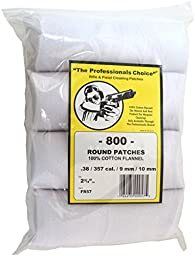 The Professional\'s Choice Pistol/Rifle Cotton Flannel 2 3/4-Inch Round Gun Cleaning Patches (800-Pack), .38/.357-Calibre/9mm/10mm