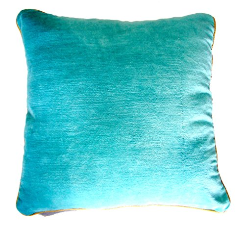 Homeblendz Cotton Velvet turquoise 40x40 cushion cover With Piping