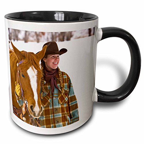 Danita Delimont - Cowgirls - Cowgirl on horse, Hideout Ranch, Shell, Wyoming - US51 JRE0027 - Joe Restuccia III - 11oz Two-Tone Black Mug (mug_97340_4)