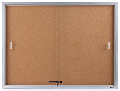 Displays2go 48 x 36 Inches Enclosed Bulletin Board for Wall Mount - Silver Aluminum Frame (CBSD43SV) (Glass Door Bulletin Board compare prices)