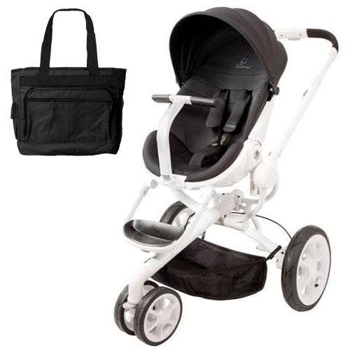 Quinny Cv078Bik Moodd Stroller In Black Irony With A Diaper Bag front-823742