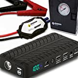 Rugged Geek Portable Lithium Booster Pack Jump Starter and Power Supply with LCD Display (RG1000 Safety Plus w/ Air Compressor)