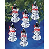 Beadery Holiday Beaded Ornament Kit, Faceted Elegant Snowmen, 2 by 1-Inch Makes 12