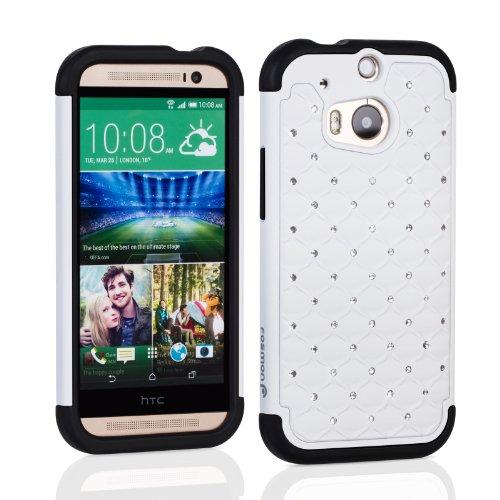 Fosmon Hybo-Sd Diamond Star Design Hybrid Case For Htc One (M8) 2014 - Retail Packaging (White/Black)