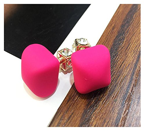 Luck Wang Unique Passion Woman Chocolate Pearl Crystal Fashion Earrings Temperament Long Section(Rose red) (Banner Coil Clean compare prices)